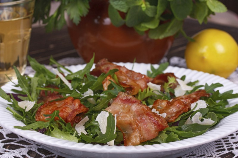 Arugula, Bacon, and Parmesan Salad Recipe